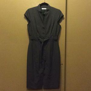 Gray Calvin Klein Cap Sleeve button dress w/belt